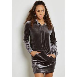Forever 21 silver gray hooded velvet dress comfy M